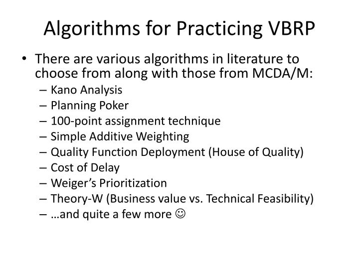 Algorithms for Practicing VBRP