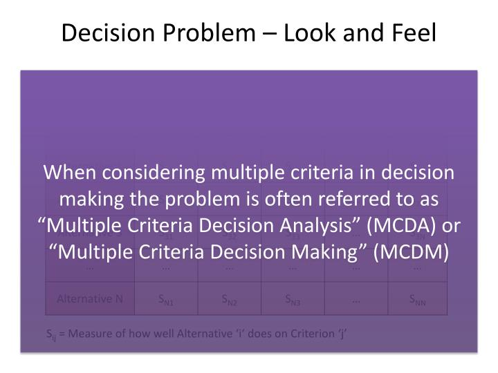 Decision Problem – Look and Feel