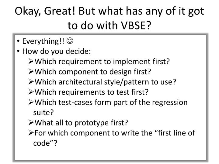 Okay, Great! But what has any of it got to do with VBSE?