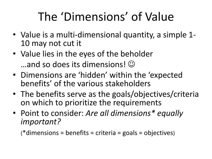 The 'Dimensions' of Value