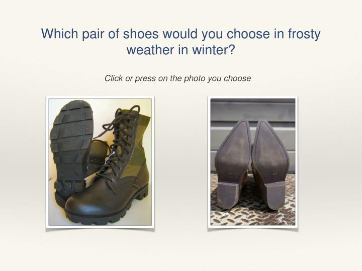 Which pair of shoes would you choose in frosty weather in winter?