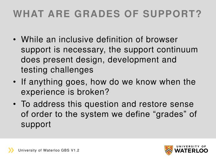 What are grades of support?