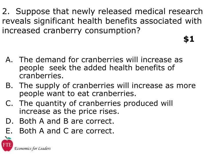 2.  Suppose that newly released medical research reveals significant health benefits associated with increased cranberry consumption?