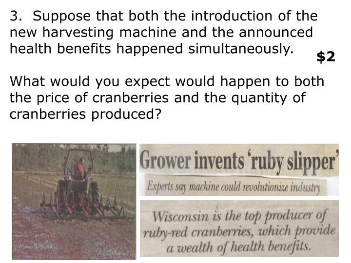 3.  Suppose that both the introduction of the new harvesting machine and the announced health benefits happened simultaneously.
