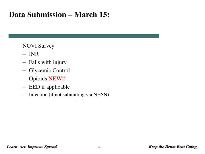 Data Submission – March 15: