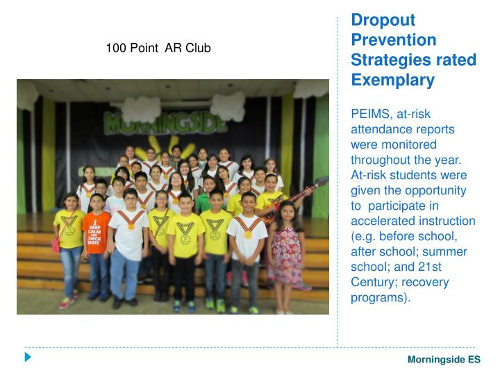 Dropout Prevention Strategies rated Exemplary