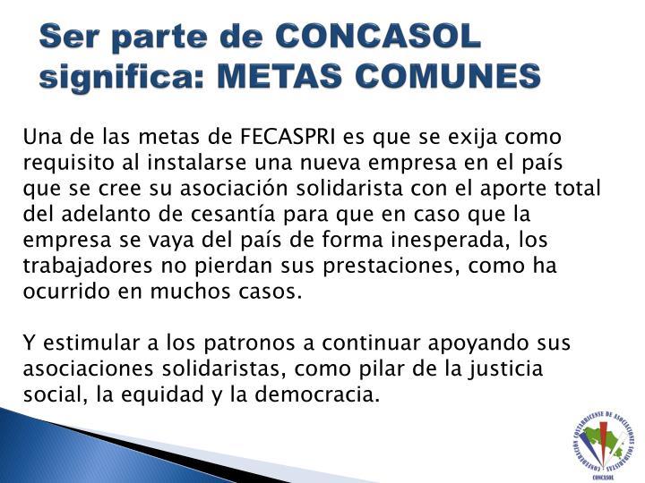 Ser parte de CONCASOL significa: METAS COMUNES