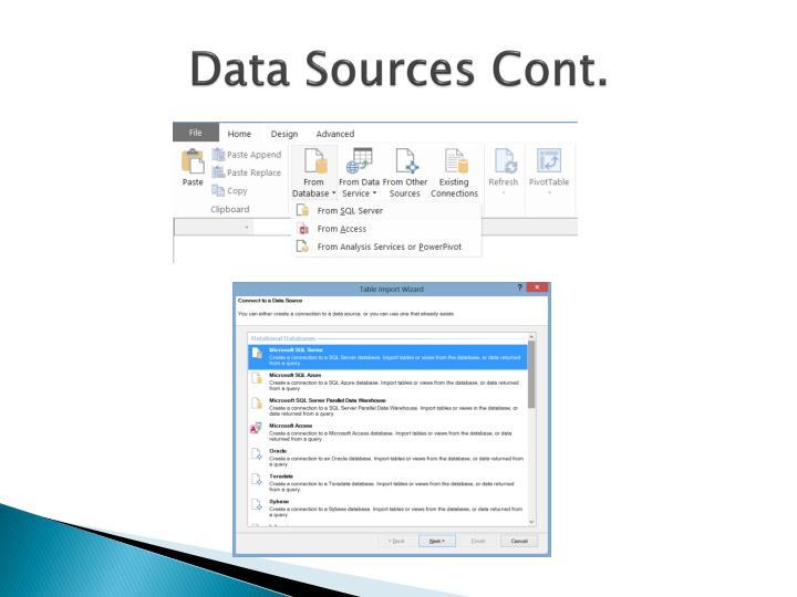 Data Sources Cont.