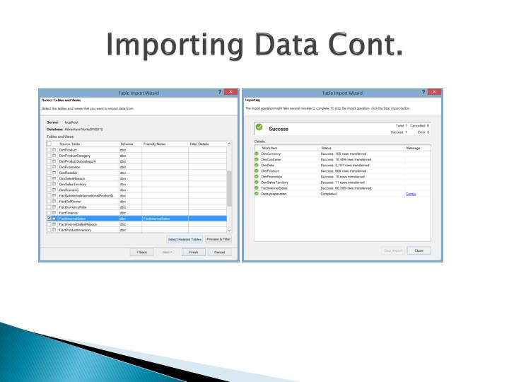 Importing Data Cont.