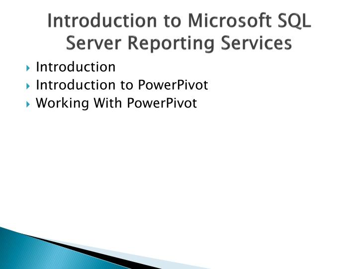 Introduction to microsoft sql server reporting services