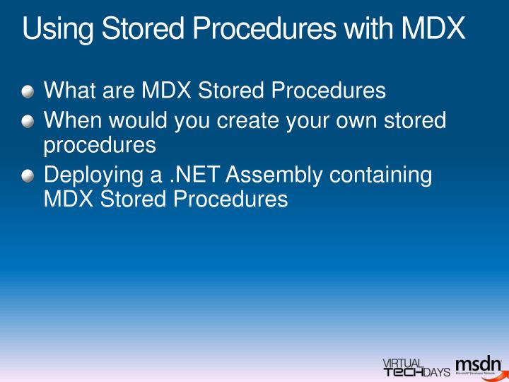 Using Stored Procedures with MDX