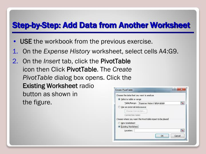 Step-by-Step: Add Data from Another Worksheet