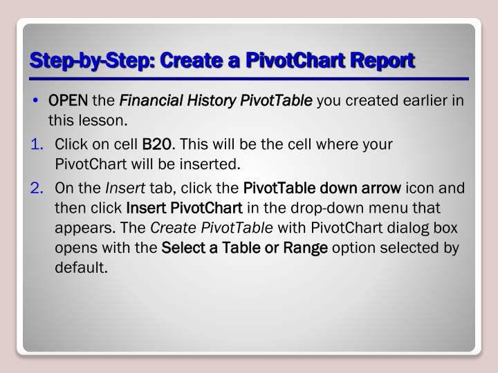 Step-by-Step: Create a PivotChart Report