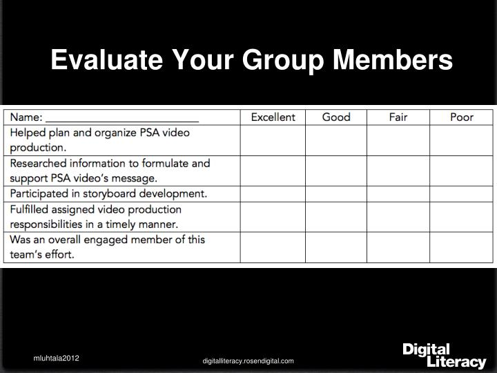 Evaluate Your Group Members