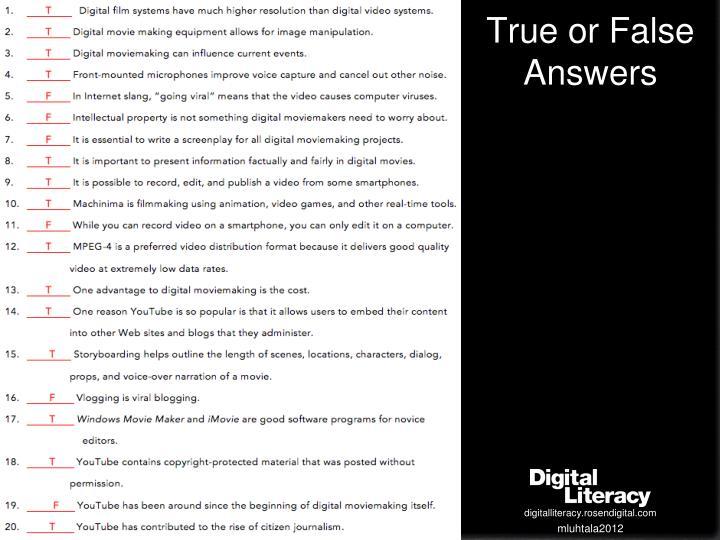 True or False Answers