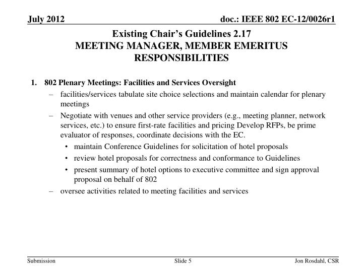 Existing Chair's Guidelines 2.17