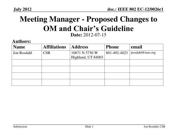 Meeting manager proposed changes to om and chair s guideline