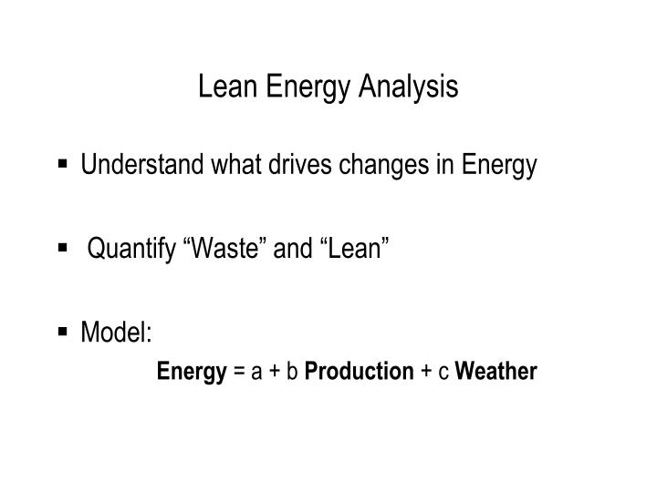 Lean Energy Analysis