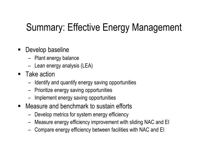 Summary: Effective Energy Management