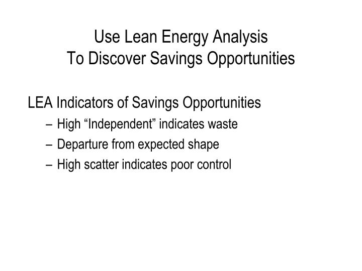 Use Lean Energy Analysis