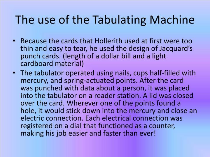 The use of the Tabulating