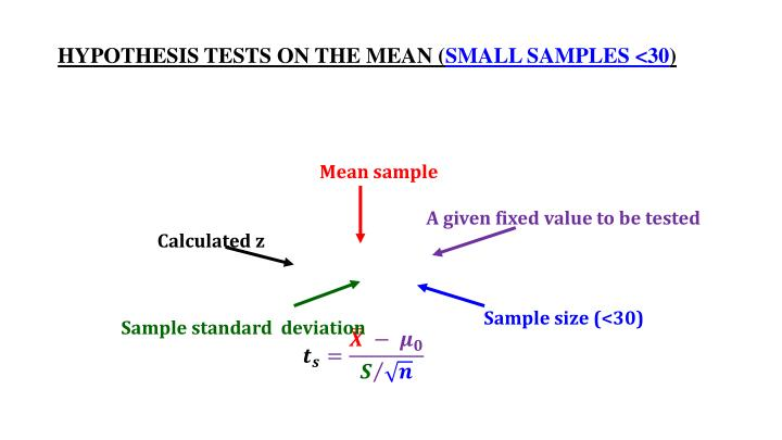 HYPOTHESIS TESTS ON THE MEAN