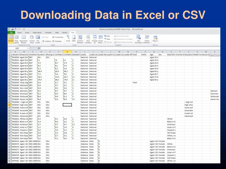 Downloading Data in Excel or CSV