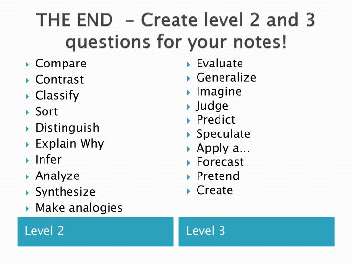 THE END  - Create level 2 and 3 questions for your notes!