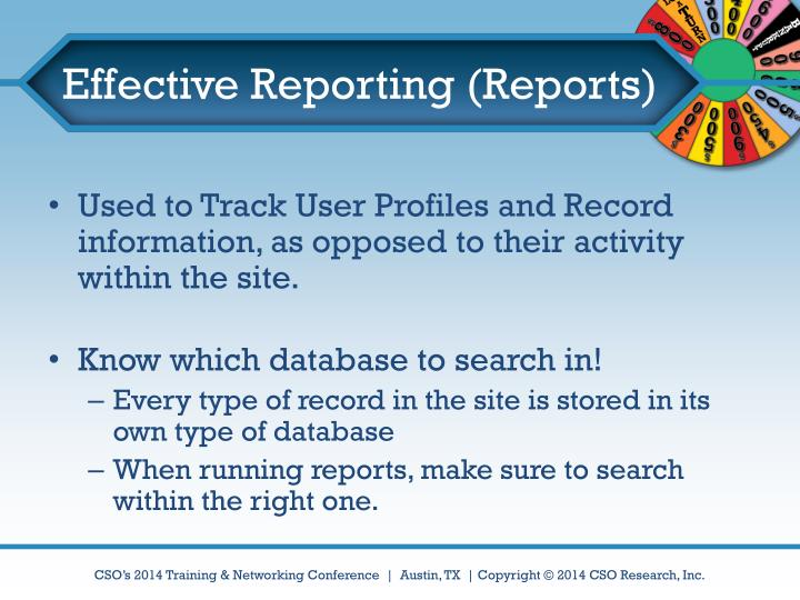Effective Reporting (Reports)