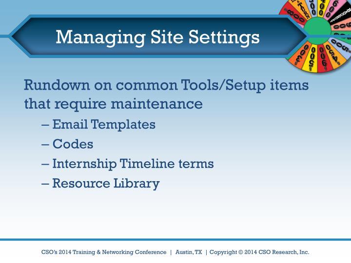 Managing Site Settings