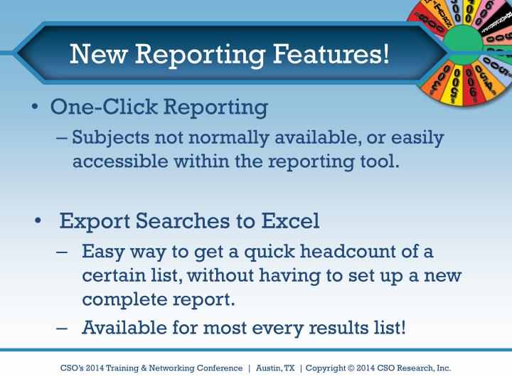 New Reporting Features!
