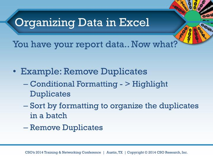 Organizing Data in Excel