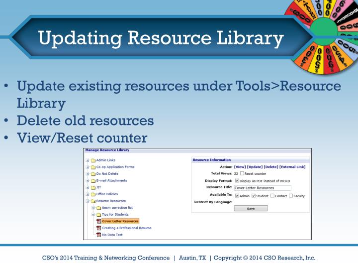 Updating Resource Library