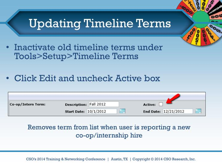 Updating Timeline Terms
