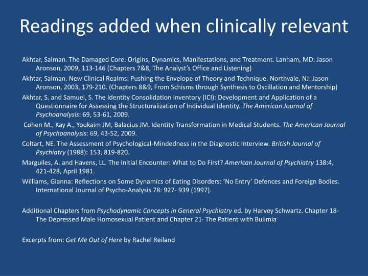 Readings added when clinically relevant