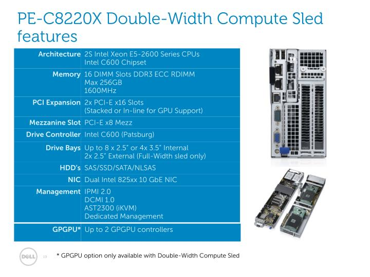 PE-C8220X Double-Width Compute Sled features