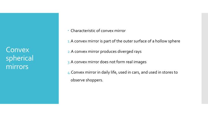 Characteristic of convex mirror