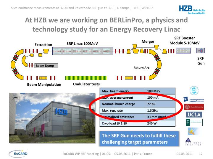 At HZB we are working on BERLinPro, a physics and technology study for an Energy Recovery Linac