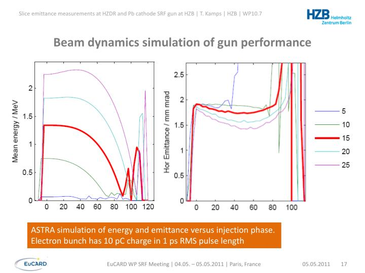 Beam dynamics simulation of gun performance