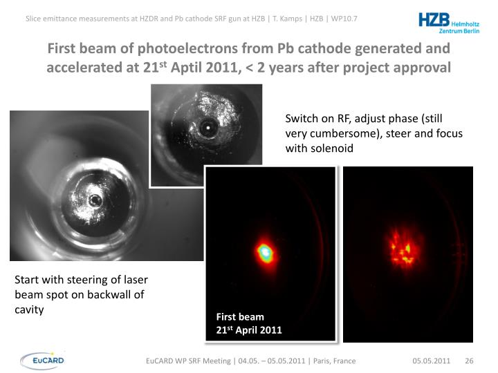 First beam of photoelectrons from Pb cathode generated and accelerated at 21