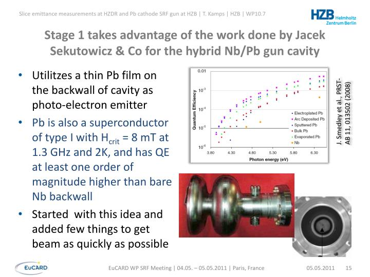 Stage 1 takes advantage of the work done by Jacek Sekutowicz & Co for the hybrid Nb/Pb gun cavity