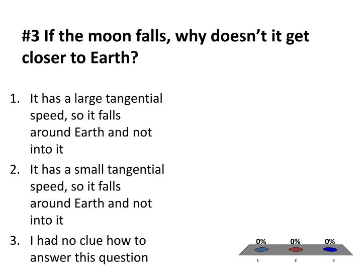 #3 If the moon falls, why doesn't it get closer to Earth?
