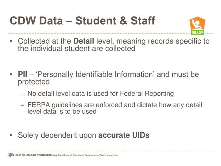 CDW Data – Student & Staff