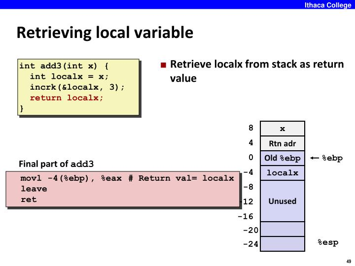 Retrieving local variable