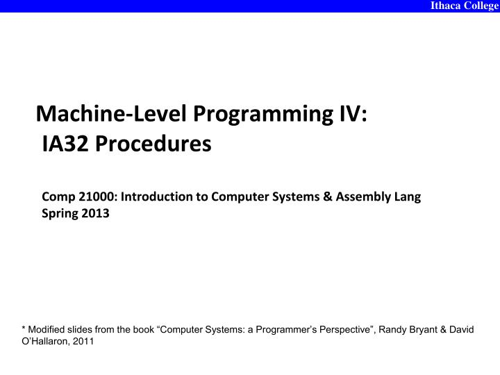 Machine-Level Programming IV: