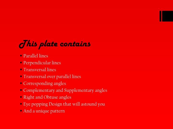 This plate contains