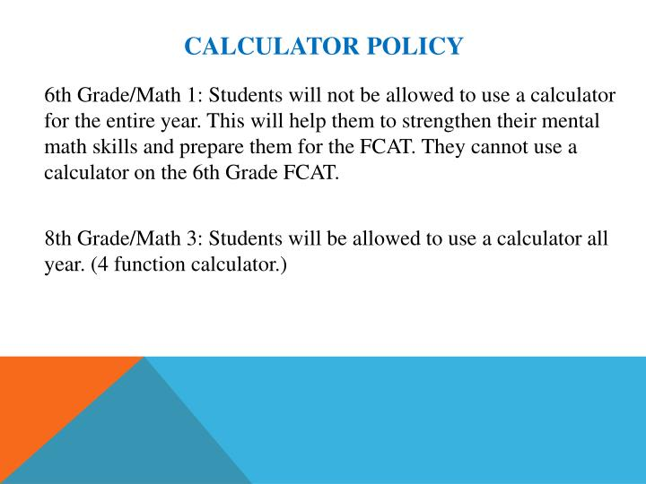 Calculator Policy