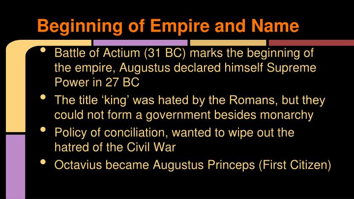 Beginning of empire and name