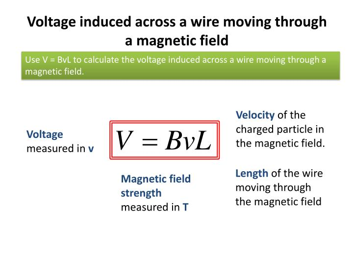 Voltage induced across a wire moving through a magnetic field