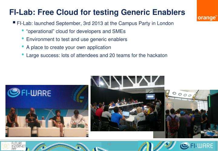 FI-Lab: Free Cloud for testing Generic Enablers